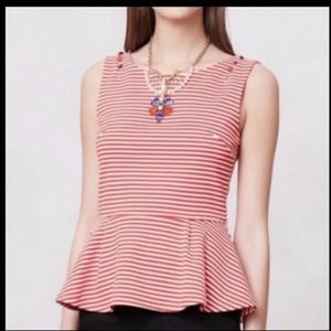 Anthropologie Postage Stamp Peplum Tank size S